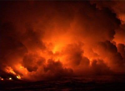 Red smoky sky