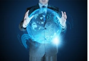 Businessman controlling hologram of globe