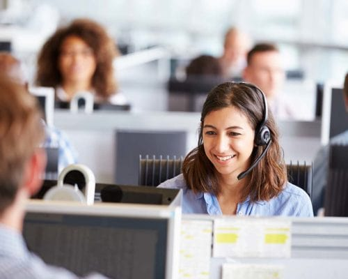 Woman in office on call centre