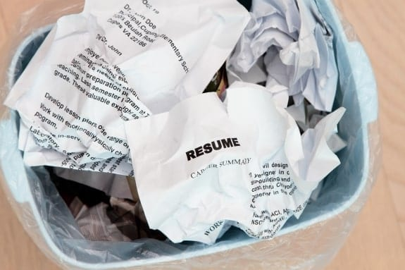 Picture of scrunched up resume in bin