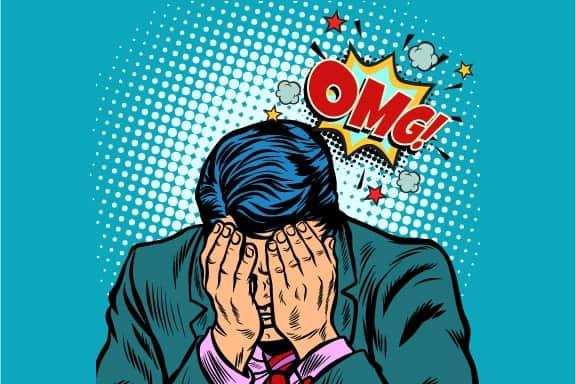 Pop art depiction of making a frustrating mistake