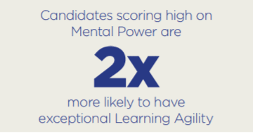 Candidates and graduates scoring high on mental power are 2x more likely to have exceptional learning agility