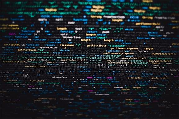 Closeup of coding on a screen