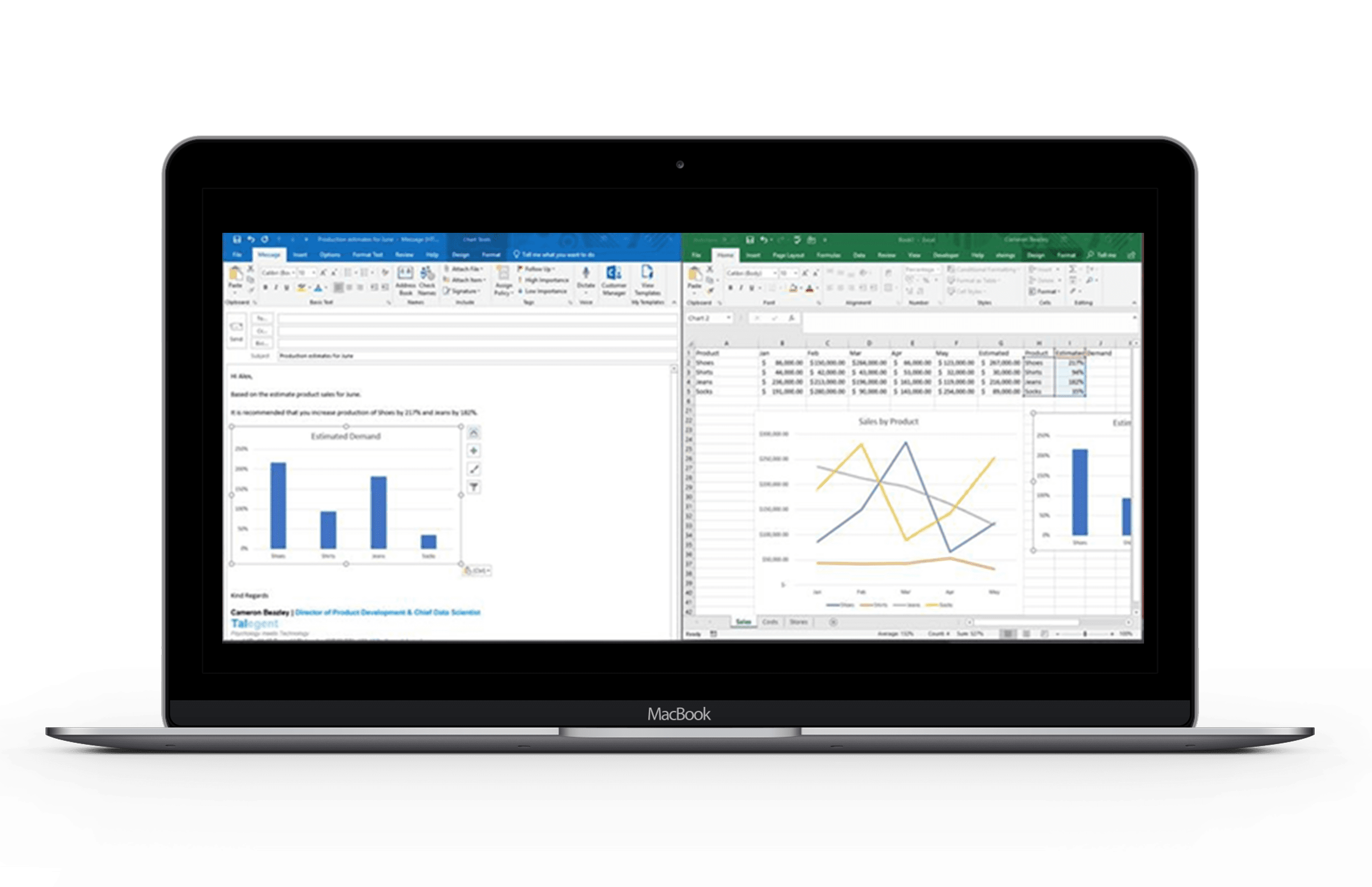 An open MacBook showing two graphs, one in excel and one in outlook. Gives the impression of something that AI can help with for the future