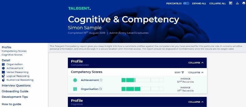 Competency & Cognitive Sample Report Screenshot