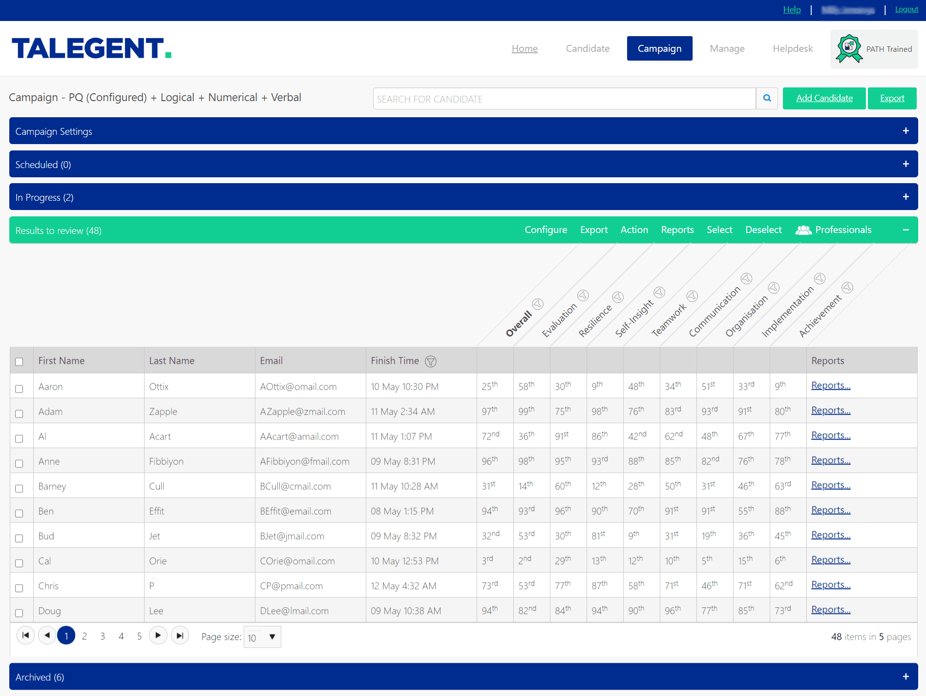 Talegent results platform - stack ranked table