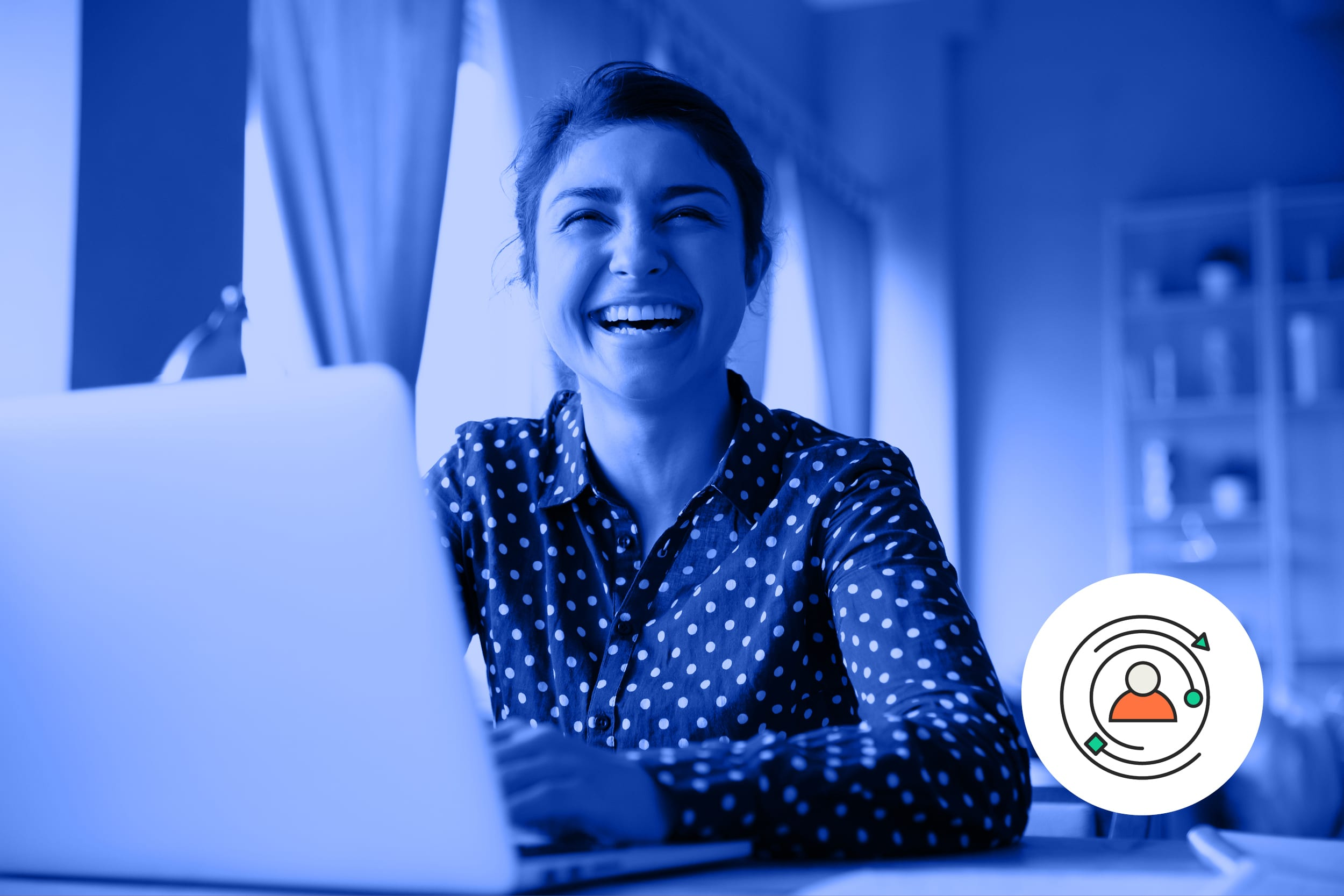 Provide a positive candidate experience to all candidates. A female candidate smiles as she sits in front of her laptop.